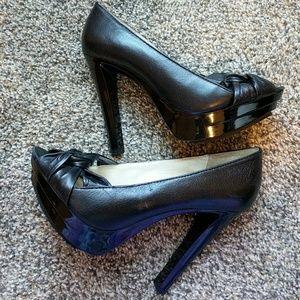 Michael Kors Black Leather Platform Heels Size 7.5